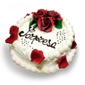 torta con panna e rose rosse online